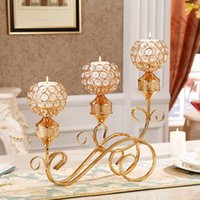 Candle Holders 3 Set Crystal Clear Modern Gold Decoration Accessories Luxury Geometric Bougeoir Candlestick EH50C