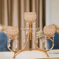 Candle Holders Crystal Gold 3-arms Metal Candelabra With Pendants Candlestick Table Home Decoration For Wedding Centerpiece