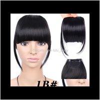 6 pouces Court Court Front Neat Clip à Bang Fringe Extensions de cheveux Straight Synthetic 100 véritable poitrine naturelle fjjgz d7p6q