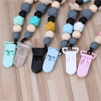 Pacifiers# Silicone And Wood Pacifier Clip Wooden Bead Dummy Holder Soother Chains F3ME