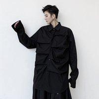 Tシャツ男性プリーツデザインメンズ長袖カジュアルブラウス男性ジャパン韓国風ストリートウェアルーズフォールドキラム