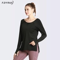 Yoga Outfits F.DYRAA Loose Clothes For Fitness Sport Shirt Women Blouse O-neck Workout Running Long Sleeve Femme Gym Top With Thumb Hole