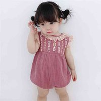 Baby Cotton Linen Rompers Girl Summer Embroidery Jumpsuit Children Boutique Designer Clothes for born Infant Spanish Clothing 210615