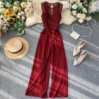 FTLZZ New Beach Full Length Sexy Lace Hollow Out O-neck Tank Jumpsuit Summer Women Slim Wide-legged Playsuit Holiday Romper