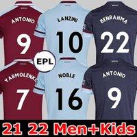 22 22 West Soccer Jerseys Ham 2021 2022 United Home Away Yarmolenko Lanzini Noble Bowen Antonio Camisa Football Fornecidos Homens de Arroz + Kid Kits Jersey Soucek Benrahma