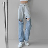 Women's Jeans Women Pants 2021 Retro Ripped High Waist Gradient Color Straight Wide Leg Female Casual Loose Drape Trample Trousers