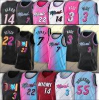 22 Butler Miamis Basketball Jerseys Jimmy Dwayne Dwyane 3 Wade 7 Kyle Bam 14 Tyler Lowry HERRO ADEBAYO ROBINSON HOMBRES STEPEED JERSEY