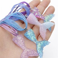 Necklaces Pendants Jewelry Design Mermaid Beauty Gardient Color Resin Fish Tail Pendant Ribbon Wax Rope Necklace For Girls Women 1606 Q2