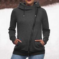 Women's Hoodies & Sweatshirts 40# Women Solid Color Zipper Hoodie Long Sleeve Oversized Sweatshirt Ladies Drawstring Pullover Plus Size Velv