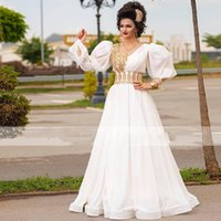 Evening Dresses Traditional Kosovo vestidos formales Arabic Scoop Long Sleeves Applique Prom Party Gowns robe de soiree
