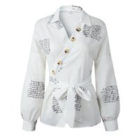 Женские буквы печати рубашка фонарь с длинным рукавом блузки офис Sexy V шеи кнопки топы весной / осень моды нерегулярная блузка