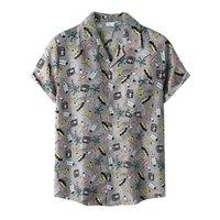 Men's Casual Shirts Beach Cartoon Print Shirt Short Sleeve Button Chemise Homme Male Camisa Loose Hawaiian