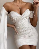 Frauen Kleidung Luxus Plissee Damen Bodyconkleider Sexy Deep V-ausschnitt Kleid Lace Up Sleeve Feste Farbe Casual Kleider