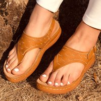 Womens Sandals Ladies Clip Toe Wedges Thong Shoes 2021 Fashion Embroidery Platform Buckle Casual Female Beach Shoes