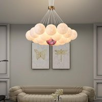 Modern 3D Printed Moon Lampshade Chandeliers LED Hanging Lamp Decor Children's Bedroom Living Dining Room Furniture Lighting Pendant Lamps