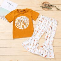 Clothing Sets Girls Outfits Baby Clothes Kids Suits Children Summer Cotton Short Sleeve T-shirts Flared Trousers Pants Flower 2Pcs 3-7Y B5440
