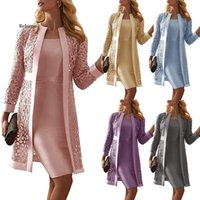 Casual Dresses Women Mother Of The Bride Long Sleeve Knee Length Jacket Formal Party Evening Gown Dress