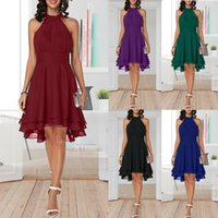 Summer Women's Solid Chiffon Dress Sexy Sleeveless Cropped Halter Party Dresses Casual Plus Size O-neck Knee-Length Dresses