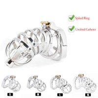 Best CBT Male Chastity Belt Device Stainless Steel Cock Cage Penis Ring Lock with Urethral Catheter Spiked Ring Sex Toys For Men K93