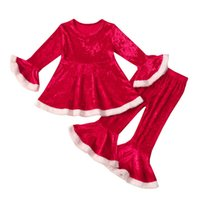 Christmas Girls Outfits Kids Clothing Sets Baby Clothes Children Suits Autumn Winter Long Sleeve Dress Tops Flared Sleeves Trousers Pants 2Pcs B8490