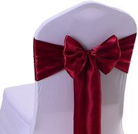 17 * 275cm cetim cadeira cadeira faixas Borgonha spandex cadeira capa faixas para banquete decoração DIY fita arco hwd10904