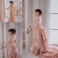 Peach Pink Gothic Prom Occasion Dresses with Long Sleeve 2021 Lace-up Corset Bustle Skirt Silk Victorian Evening Gowns