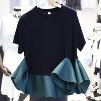 Women's T-Shirt Color Scheme Simple Tshirt Round Neck Short Sleeves Fashion Summer Ruffled Hem Stitching