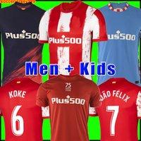 Atlético Futebol Jerseys 21 22 João Félix 2021 2022 M.llorente Koke Saul Suarez Correa Carrasco Lemar Camiseta Camisa de Futebol Uniformes Homens + Kids Kit Sets