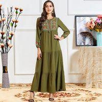 Casual kleider abaya für frauen muslim kleid damen langarm lose stickerei maxi islamische robes dubai kleidung