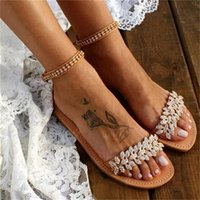 Sandals Women's Flat Bottom Rhinestone Open Toe 2021 Summer European And American Style Foreign Trade Metal Fashion