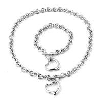 العصرية القلائد أساور مجموعة مجوهرات للنساء بيان قلادة القلب المعلقات سلاسل مجوهرات الفولاذ المقاوم للصدأ O- سلسلة 2021