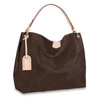 Bolso bolso de mano bolsas de hombro Mochila para mujer Montones de mujeres monederas de cuero marrón embrague moda billetera tamaño grande GM40CM / MM36CM 43703 # BA01-40