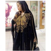 Plus Size African Dresses For Women Dashiki Diamond Beads Clothes Abaya Dubai Robe Evening Long Muslim Dress Hooded Cape Ethnic Clothing