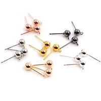 100 sztuk / partia 3/4 / 5mm 6 Kolory Pin Ustalenia Stud Kolczyk Podstawowe Szpilki Złącze Złącze Do DIY Biżuteria Akcesoria Dostawy