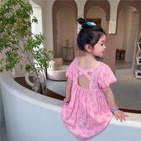 Summer Korean Baby Girl Dress Kids Careful Pink Love Jacquard Halter Cross Puff Sleeve Princess Party For Girls Girl's Dresses