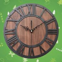 Wall Clocks Roman Digital Clock Simulation Wooden Number Craft Acrylic (Black Shipment Without B