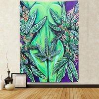 태피스트리 simsant 녹색 나뭇잎 태피스 트리 다채로운 눈 추상 미술 벽 거실 침실에 매달려 침실 홈 장식 배너