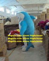 Smart Blue Shark Bruce Mascot Disfraz Mascotte Ballena Cetacean SelachimorPha Con Belly Blanco Cara Feliz Adulto No.1981 Free Ship