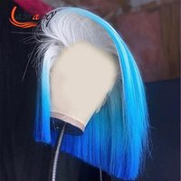 레이스 가발 13x4 Ombre 블루 짧은 밥 HD 정면 인간의 머리 Burgundy Pre Plucked 전체 613 금발 색상 앞 여자 핑크 13x6