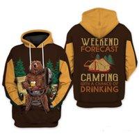 남성용 후드 스웨터 주말 예측 마시는 캠핑 3D 인쇄 된 까마귀 / 스웨터 / 지퍼 까마귀 패션 남성과 여성 캐주얼 스트리트
