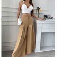 Women's Pants & Capris Mandylandy High Waist Loose Trousers Streetwear Fashion Khaki Wide-Leg Pants-without Belt Women Solid Color