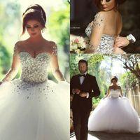 الراين الفاخرة كريستال الكرة ثوب فساتين الزفاف خمر س الرقبة طويلة الأكمام عارية الذراعين زائد الحجم الطابق طول أثواب الزفاف