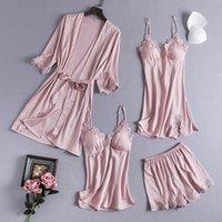 4PCS Pj's Sleep Sets Pajamas Satin Women Lace Kimono Robe Set V-Neck Sleepwear Sexy Lingerie Casual Loose Home Clothes Nightgown