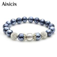 5 pcs moda mulheres estiramento bola de discoteca encantos bead braceletes marinho azul facetado pedra jóias presente frisado, vertentes