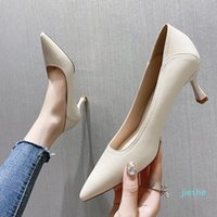 fashion-Dress Shoes French Style Luxury Leather Thin Heels For Women 5cm Poin Toe High Female Party Casual Office Pumps