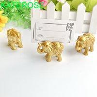 24 sztuk Gold Lucky Elephant Place Posiadacze Karty Nazwa Uchwyt Photo Wedding Baby Party Stół Dekoracja Piłki