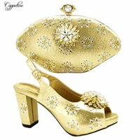 Dress Shoes Pretty Gold High Heel Pump Matching With Evening Bag Sets For Party 688-14, Height 10cm