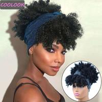 10''short Afro Kinky Curly Perücken für Frauen Puffy Head Band Beschneiden Sie mit Tuch Wärmerutschen natürlichen synthetischen Fasern Curl Perücken