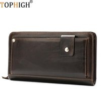 Evening Bags TOPHIGH Genuine Leather Purse Fashion Handy Vintage Card Holder Cell Phone Case Money Bag For Men 2021 Long Clutch Wallet