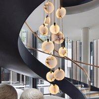 Современная лестница мраморная люстра лампы роскошные лобби прихожая висит светильник гостиной украшения длинный светодиодный камень